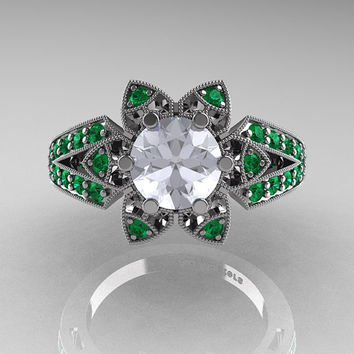 Art Deco 950 Platinum 1.0 Ct Russian CZ Emerald Wedding Ring, Engagement Ring R286-PLATEMCZ