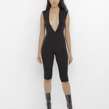 POOLSIDE SHAWTY PLUNGING JUMPSUIT - BLACK