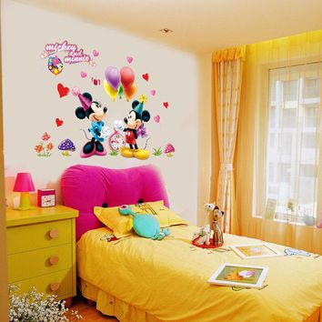 Removable Mickey Mouse and Minnie Sticker 602. Kids Baby Nursery Room Decor Mural Decoration