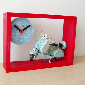 Blue Vespa red wood clock, red frame wooden clock for wall or desk with a sky blue Vespa scooter miniature, collectible Vespa clock