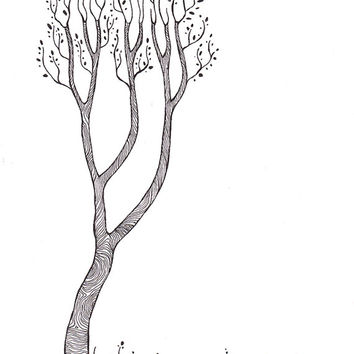 Original tree drawing. Black and white art. Nature illustration. Minimalist artwork. A4 size picture for gallery wall.