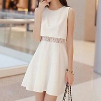 Mock Two-piece Lace Panel Sleeveless Dress