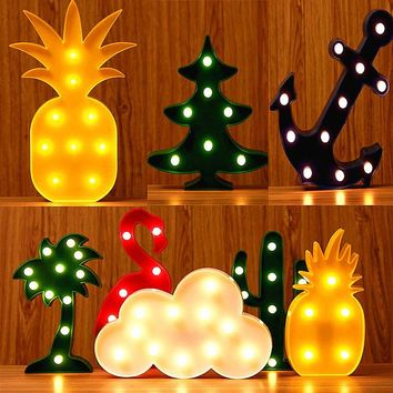 Unicorn Flamingo Party Decoration Led Night Light Cartoon Table&Wall 3D Lamps for Kids Gifts Home Supplies Wedding Decorations