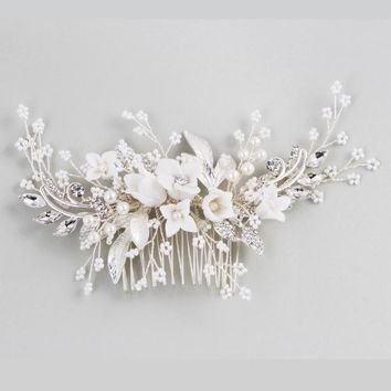 Dower me Stunning Floral Headpiece Bridal Silver Hair Comb Piece Pearls Women Prom Hair Jewelry Wedding Accessories