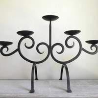 Wrought Iron Candle Holder | Gothic Scroll Black Iron Candelabra | Rustic Vintage Candle Holder | 5 Tier Candelabra | Fireplace Decor