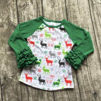 Girls Christmas Shirt, Girls Christmas Top, Girls Icing Shirt, Toddler Christmas Outfit, Reindeer Shirt, Personalized, Monogrammed, Raglan