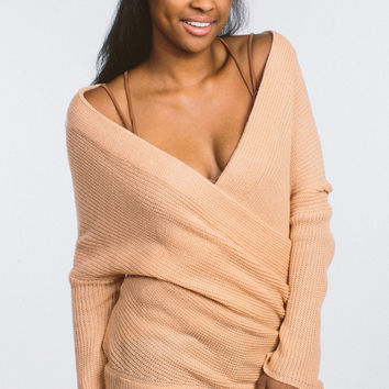 Easy Going Off The Shoulder Sweater - Peach