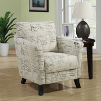 Monarch Specialties Vintage French Fabric Accent Chair, Off-White