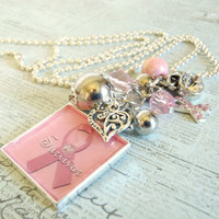 Survivor Cluster Charm Necklace Set Breast Cancer in silver plate
