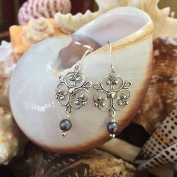 Knotted Sterling Pearl Filigree Earrings Beach Jewelry, Boho Pearl Dangle Earrings by Two Silver Sisters