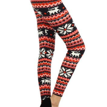 Reindeer and Holly Leggings - Pink