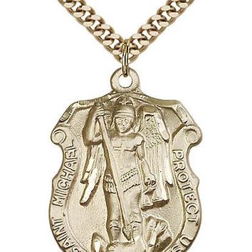 Men's 14K Gold Filled St Michael Army Military Soldier Catholic Medal Necklace 617759792874
