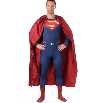 High Quality Men's Spandex Superman Cosplay Costumes Adults Lycra Zentai Male Suits Halloween Men Super Hero Costume Bodysuit