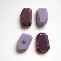 Geometric Magnets Faceted Wood Rare Earth Lavender Amethyst Set Neodymium Made to Order