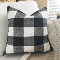 Black Buffalo Check Pillow Cover - Black and White Check Pillow, Farmhouse Decor, Farmhouse Pillow, 16 x 16, 18 x 18, 20 x 20