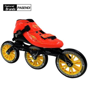 Professional Speed Skate 3x125mm Frame Roller Skating Boots 125MM Adults Big Wheels Inline Skates Shoes 2017