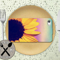Sunflower Gradient Ombre Background Purple Blue Flower Custom Rubber Tough Phone Case For The iPhone 4 and 4s and iPhone 5 and 5s and 5c