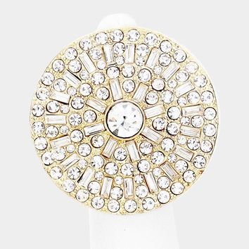 Dramatic Crystal Embellished Round Stretch Ring