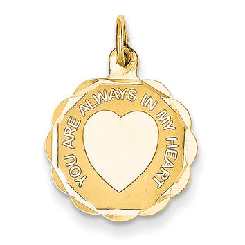 14k You Are Always In My Heart Charm XAC487