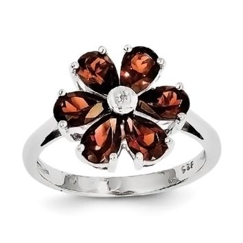 Sterling Silver Pear Garnet And Diamond Flower Ring