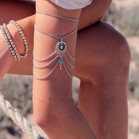 Bohemian Style Women Drop Blue Turquoise Upper Arm Cuff Armlet Armband Bracelet Muti Chain