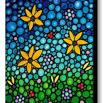 Spring Maidens Sunflower Art Print from Painting Colorful Yellow Flower Floral Flowers CANVAS Ready To Hang Large Artwork Fun Whimsical Joy