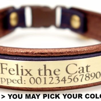 """Cat Collar: Leather on Leather 3/8"""" Wide Personalized with Breakaway Buckle"""