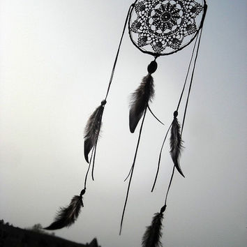 Black dream catcher, crochet lace, doily, wall hanging, bedroom, beaded dreamcatcher, large, handmade, unique, black mandala, leather, beads