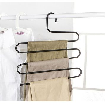 New Wardrobe Storage S Type Pants Trousers Hanger Multi Layers Stainless Steel Clothing Towel Storage Rack Closet Space Saver