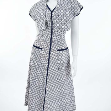 40s/50s Blue and White Print Day Dress Bolero Jacket Set-M
