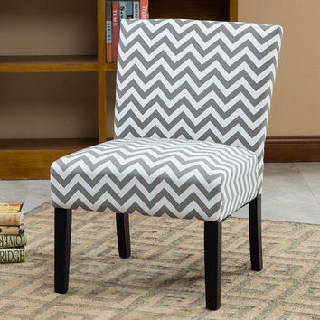 Roundhill Furniture Botticelli Grey Wave Print Fabric Armless Contemporary Accent Chair Single