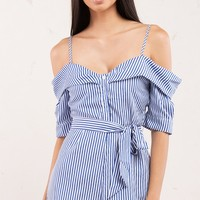Blue and White Stripe Off Shoulder Romper