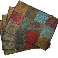 Quilted Patchwork Placemats in Natural Batiks