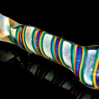 Gold Fumed Blue Dichroic Glitter Chillum Pipe Color Changing Glass with Triple Marble Grip and Colorful Designs