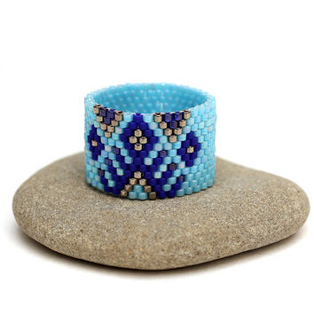 Wide boho ring Blue boho ring Colorful bohemian ring Wide beaded ring  Blue band ring Unusual ring Boho style ring Bohemian ring Ethnic ring