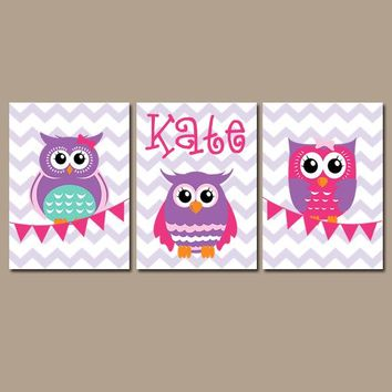 OWL Wall Art, Baby Girl Owl Nursery Decor, Name Bedroom Pictures, Pink Purple Owls Theme, Flag Chevron Canvas or Prints Set of 3 Pictures