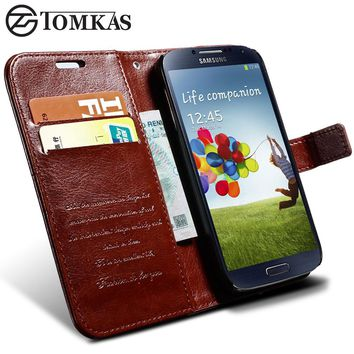 For Galaxy S4 Wallet PU Leather Case For Samsung Galaxy S4 i9500 Luxury Flip Phone Cover Coque TOMKAS Brand with Card Slot