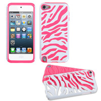 Pink White Zebra Dual Armor Hard & Soft Silicone Hybrid Case iPod Touch 5th Gen