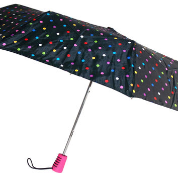 "Totes Automatic Umbrella 42"" Polka Dot Large Auto Open Travel Compact Mini Folds"