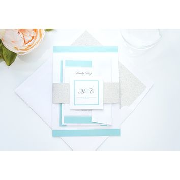 Silver and Mint Wedding Invitation - SAMPLE SET