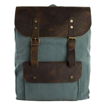 Waxed Canvas and Leather Backpack with Front Pocket - Olive Green