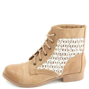 Crochet Inset Lace-Up Combat Booties by Charlotte Russe - Taupe