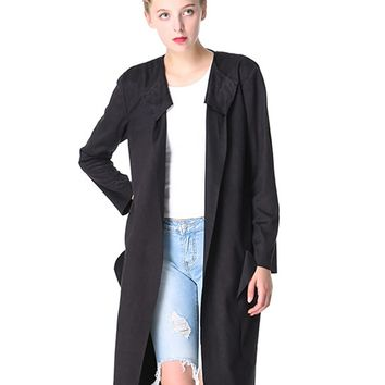 Black Faux Suede Open Front Long Sleeve Trench Coat