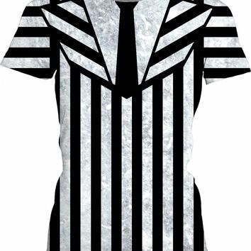 Beetlejuice suit girls fit shirt v2, black and white vertical and horizontal stripes pattern, worn out, dirty look