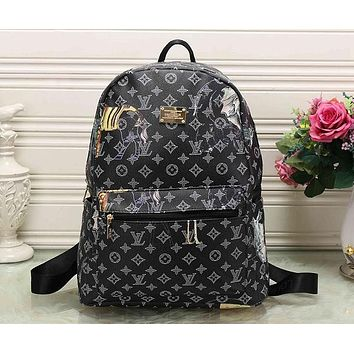 Perfect LV Louis Vuitton Pattern Leather Travel Bag Backpack