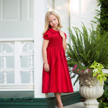 Scarlett - Red Smocked Dress