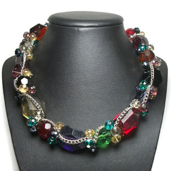 Colorful Crystal Glass Silver Tone Chain Necklace Faceted Beads Jewel Tones Chunky Statement Choker Collarbone Multicolored Rainbow
