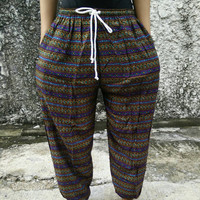 Purple Pants Boho Ethnic Print Yoga Harem Trousers Hippie Festival Fashion Styles Festival Clothing Gypsy Tribal Clothes Beach Summer men