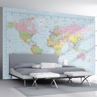 1Wall Stunning Digital Colour World Map Wallpaper Wall Mural:Amazon.co.uk:Kitchen & Home