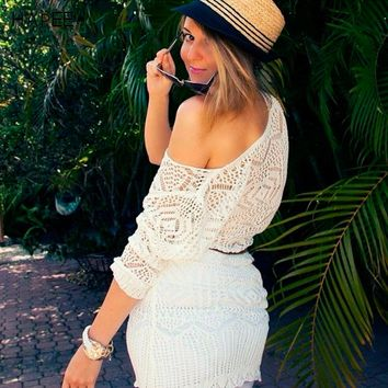 New 2017 women clothing summer style Hollow out belt sexy knitted dresses crover up crochet beach dress robe femme sundress